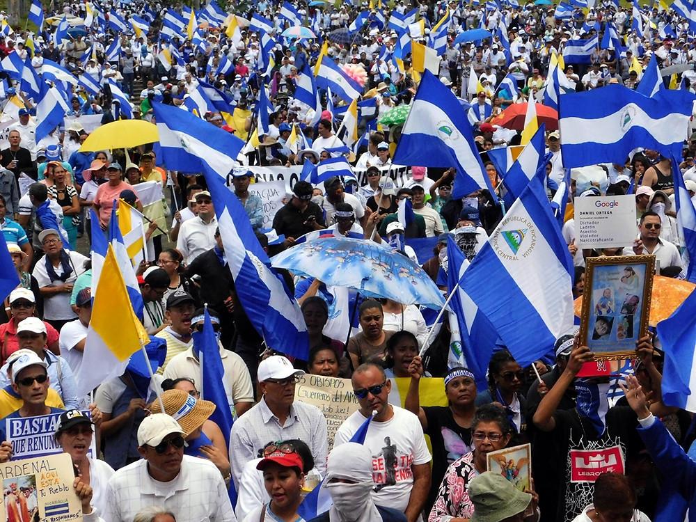 Marcha finaliza en la Catedral de Managua - Fotografía de Juan Daniel Treminio