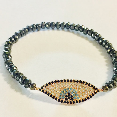 Rosegold plate evil eye and hematite bracelet