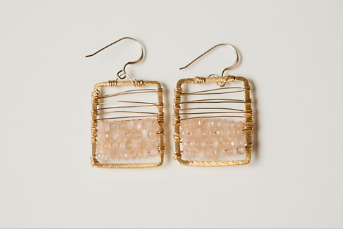 Mini Piazza Earring (Vermeil and Rose Quartz)