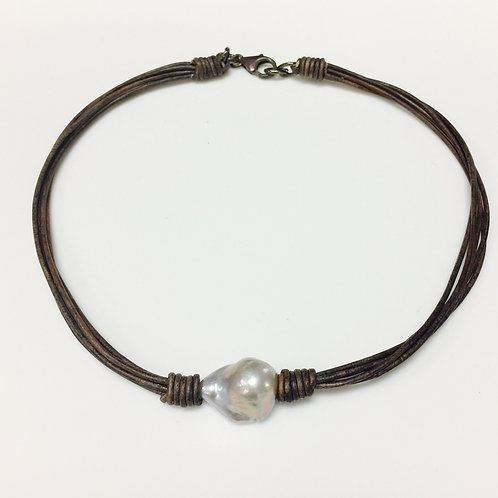 Grey Leather Pearl Choker Necklace