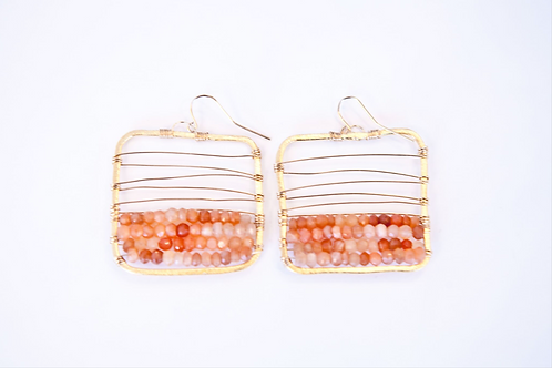 Piazza Earring (Vermeil and Peach Moonstone)