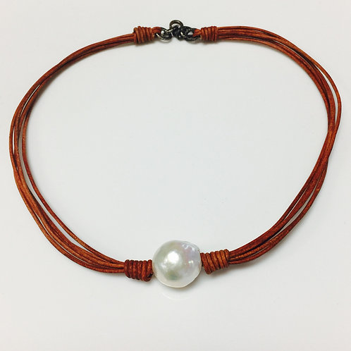 Leather Pearl Choker Necklace