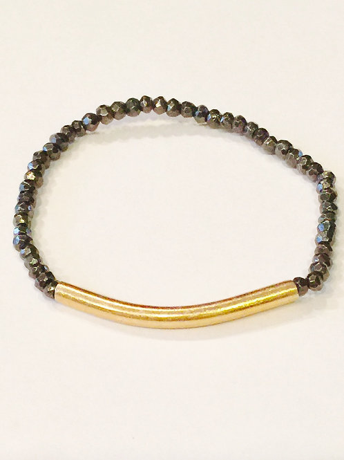 Hematite and Vermeil Bar Bracelet