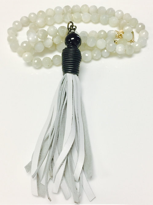 Moonstone and Leather Tassel Necklace