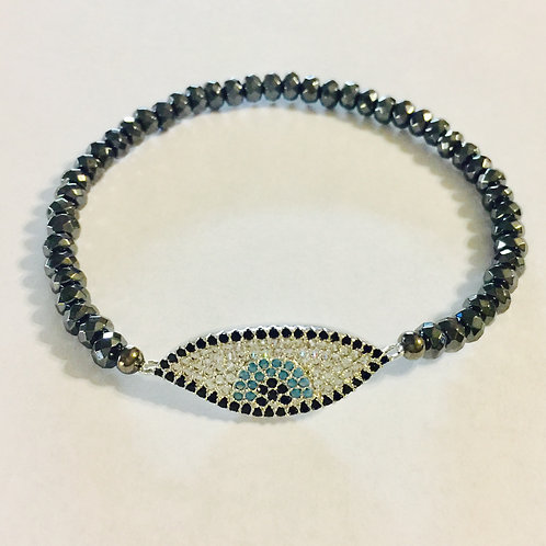Silver plated evil eye bracelet with hematite