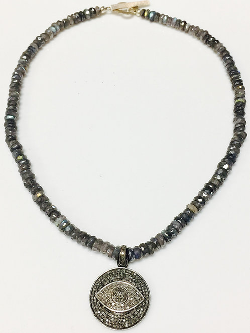 Pave Diamond Evil Eye Pendant Necklace