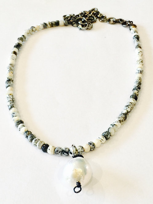 Pearl and Opal Dendrite Necklace