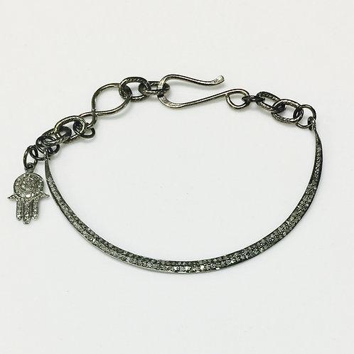 Pave Diamond and Oxidized Chain Bracelet