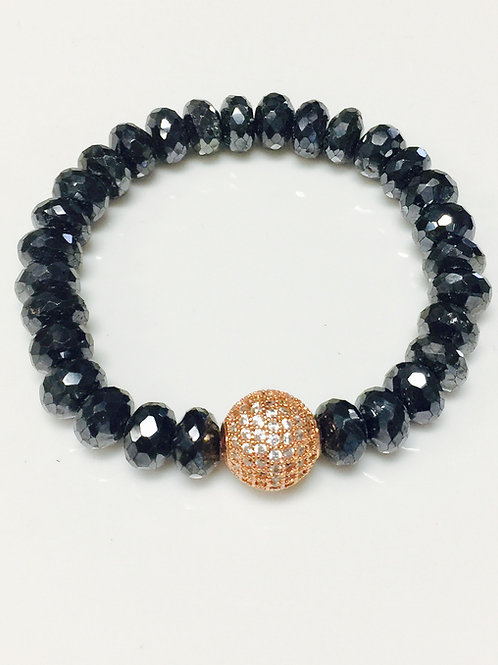 Mystic Black Spinel and Rosegold Bead Bracelet