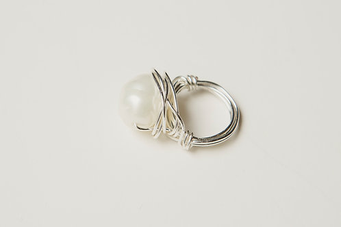 Palmoma Pearl Silver Ring