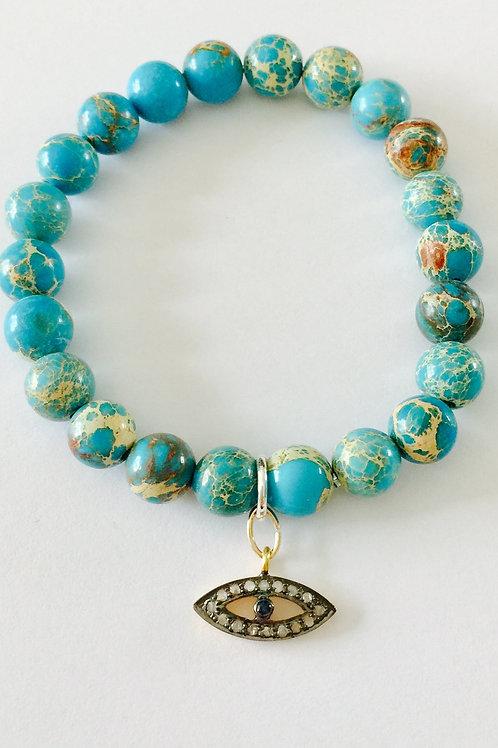 Turquoise and Pave Diamond Evil Eye Bracelet