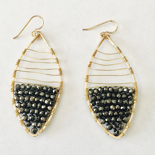 Gold Filled and Hematite Earring