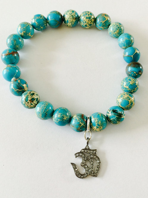 Turquoise and Pave Diamond Om Bracelet