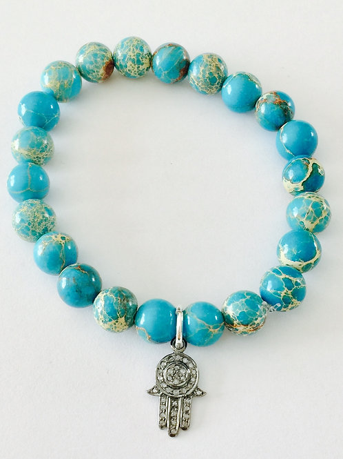 Turquoise and Pave Diamond Pendant Bracelet