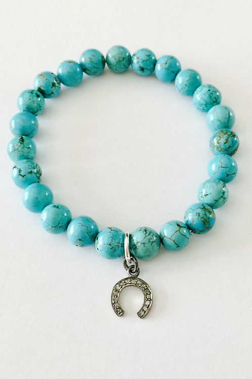 Turquoise and Pave Diamond Lucky Horseshoe Bracelet