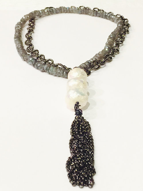 Pearl Necklace with Labradorite