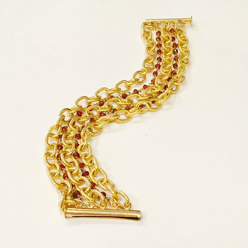Florence Gold Plated Bracelet with Garnet