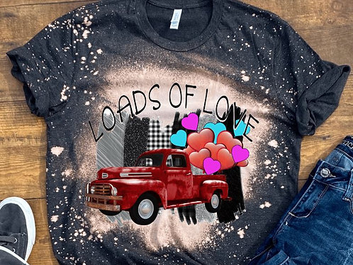 BLEACHED TEE Short or Long Sleeve Valentine Loads of Love Red T