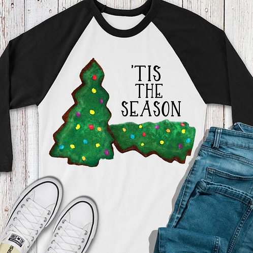SUBLIMATED TEE RAGLAN LOVE Christmas Cakes Brownies Tis the Season