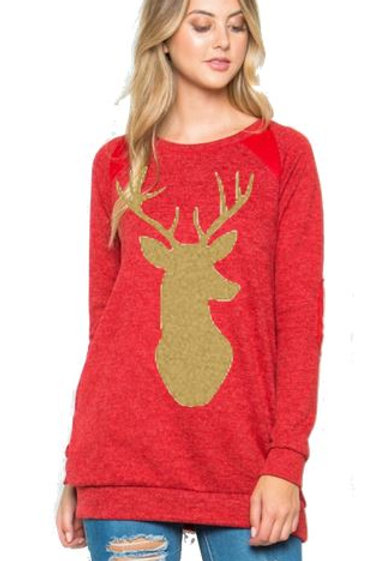 Brushed Knit Elbow Patched Long Sleeve Tunic Christmas Deer Red