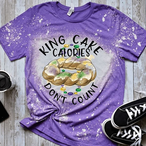 BLEACHED TEE Short or Long Sleeve Mardi Gras King Cake Calories