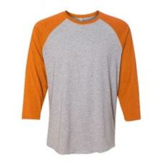 LAT Unisex 3/4 Sleeve Raglan Tee Vintage Orange/Heather