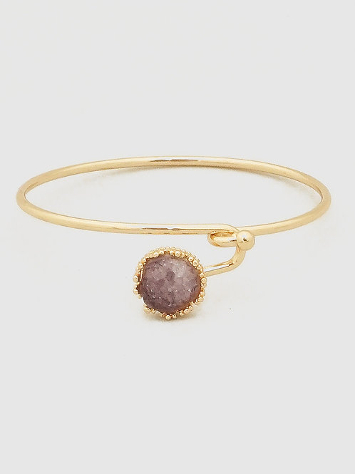 Druzy Wire Clasp Bangle Bracelets Many Colors