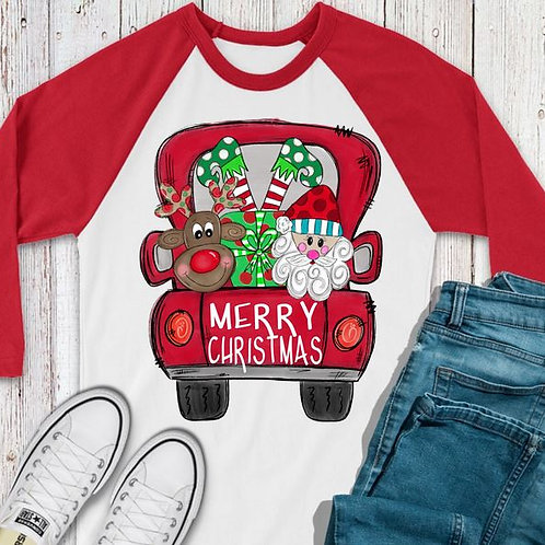 SUBLIMATED TEE RAGLAN Merry Christmas Red Truck