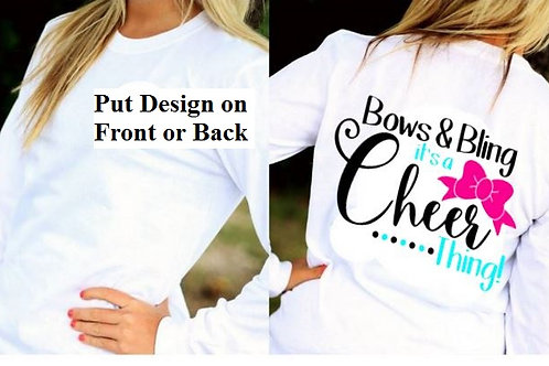 LONG SLEEVE CHEERLEADING DESIGN SHIRT Bows and Bling
