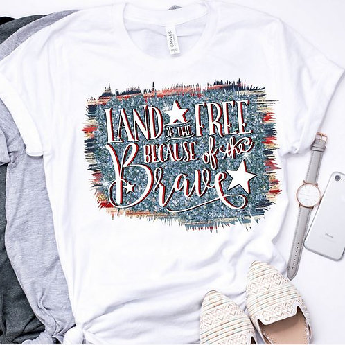 SUBLIMATED TEE Short or Long Sleeve Land of the Free with Background