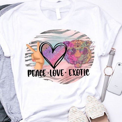 SUBLIMATED TEE Short or Long Sleeve Tiger King Peace Love Exotic