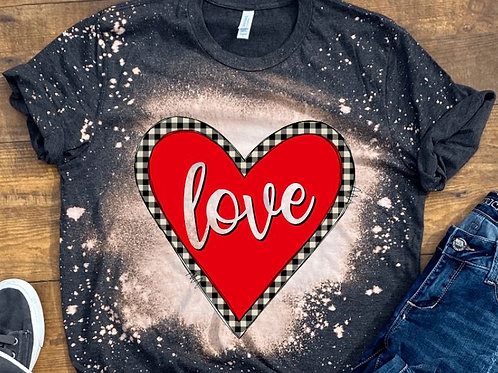 BLEACHED TEE Short or Long Sleeve Valentine Red Heart Plaid Love