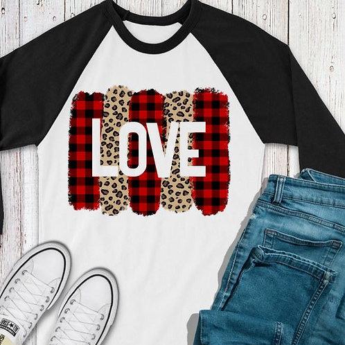 SUBLIMATED TEE RAGLAN LOVE Valentine's Love Brushstroke Plaid Leopard