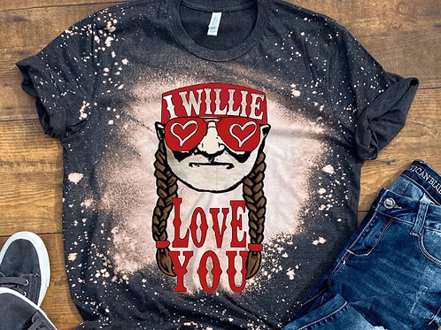 BLEACHED TEE Short or Long Sleeve Valentine Willie Love You