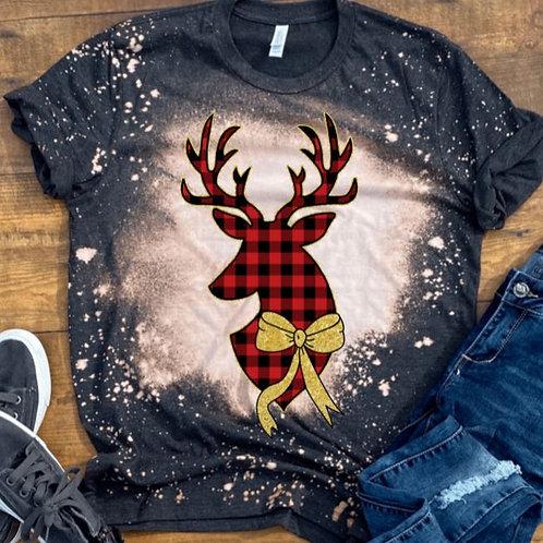 BLEACHED TEE Short or Long Sleeve Christmas Reindeer Plaid