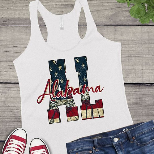 Tank Top GRAPHIC SHIRT STATE Initials 4th of July Flag ANY STATE