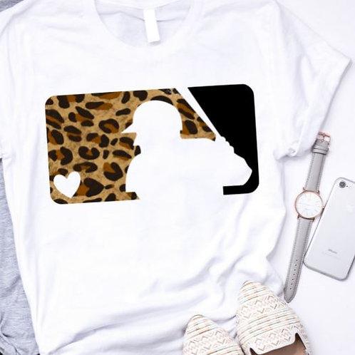 SUBLIMATED TEE Short or Long Sleeve Baseball Logo Leopard