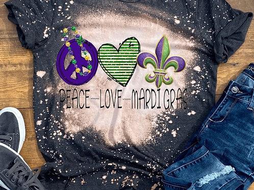 BLEACHED TEE Short or Long Sleeve Mardi Gras Peace Love Fleur De Lis