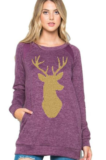 Brushed Knit Elbow Patched Long Sleeve Tunic Christmas Deer Purple