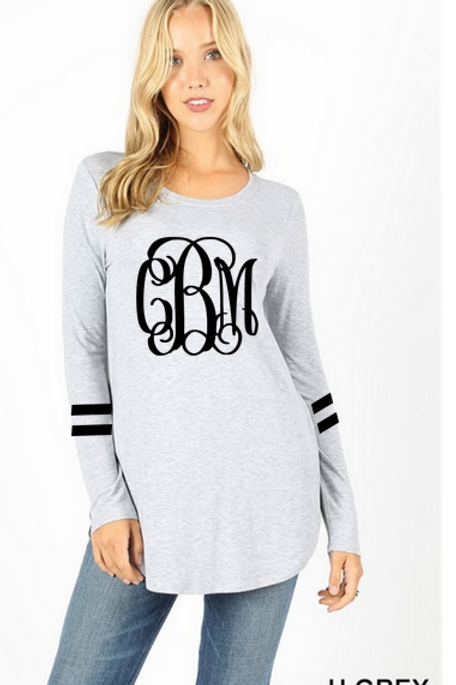 GRAPHIC TEE Tunic Long Sleeve Heather Gray Team or Monogram