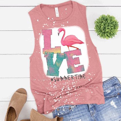 BLEACHED TANK TOP or TEE Love Flamingo