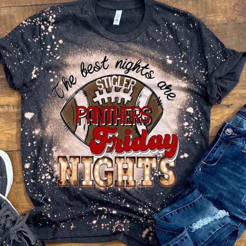 BLEACHED TEE Short Sleeve or Tank School Friday Nights ANY TEAM