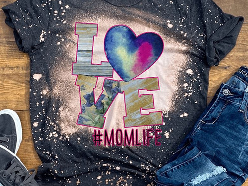 BLEACHED TEE Short or Long Sleeve Valentine LOVE Blue Wood #ANY NAME