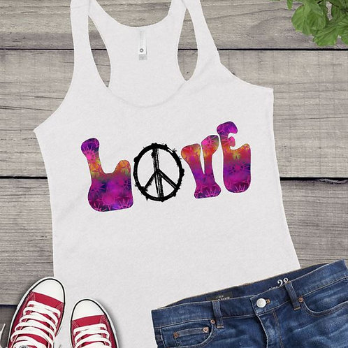 Tank Top SUBLIMATED GRAPHIC SHIRT Hippie LOVE Abstract Fuchsia