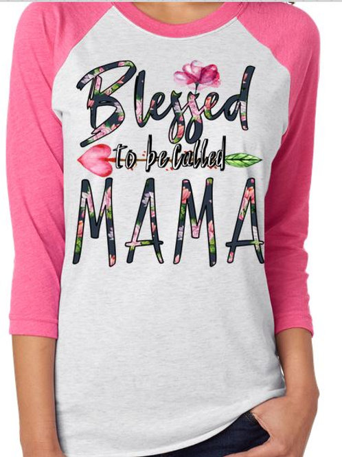 SUBLIMATED Raglan TEE Blessed Nana Blue Floral Any Name