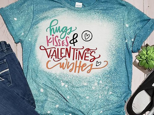 BLEACHED TEE Short or Long Sleeve Valentine Hugs Kisses Wishes