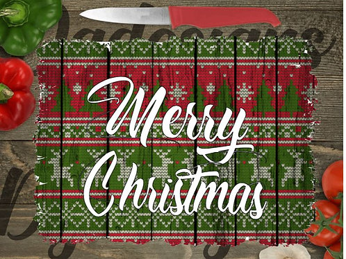 SUBLIMATED Glass Cutting Board SMALL or LARGE Merry Christmas Stencil