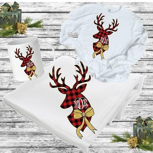 SUBLIMATED BLANKET SET - Blanket, Mug Long Sleeve Tee Deer Head Monogram