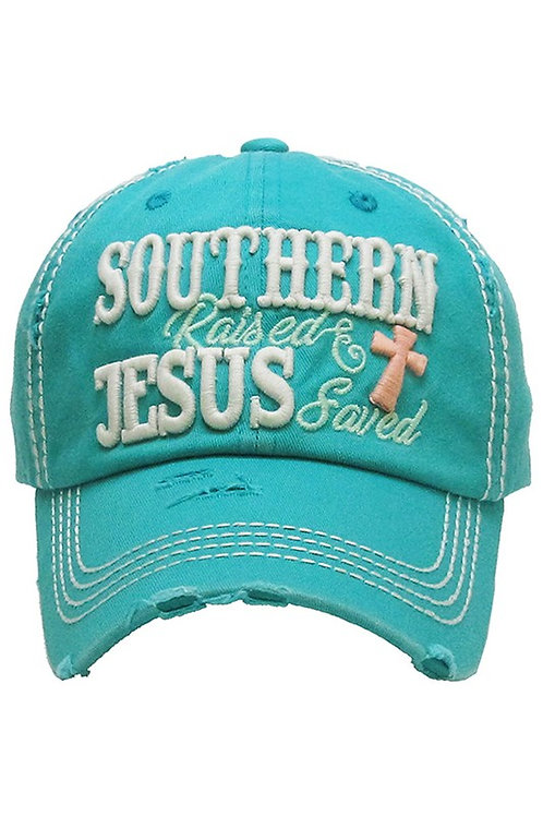 Caps Women's Hat Southern Raised Jesus Saved Many Colors