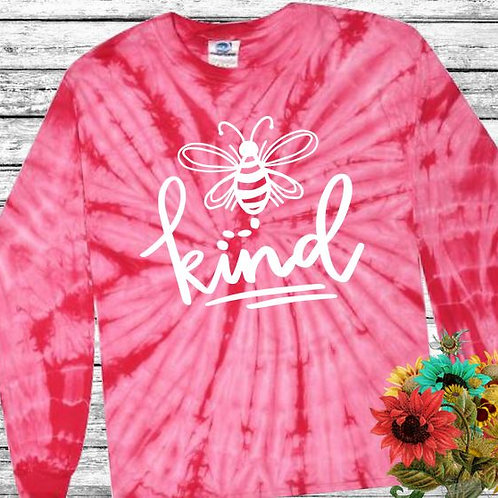 Graphic Tie Dye TEE Long Sleeve Be Kind Spider Pink